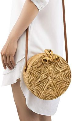 2d87761941a2 Amazon.com  Handwoven Round Rattan Bag Shoulder Leather Straps Natural Chic  Hand NATURALNEO  Clothing