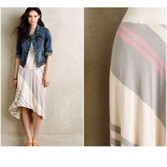 Anthropologie Bordeaux Seastripe Skirt Neutral S New with tags Anthropologie Skirts High Low