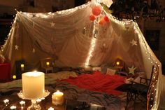 Coolest big girl tent ever! It took up the entire living room and was decked out with pillows, blankets, christmas lights and candles! Wimberley girls know how to play!