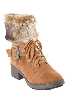 Lace-Up Fur Cuff Boot by ANNA on @HauteLook