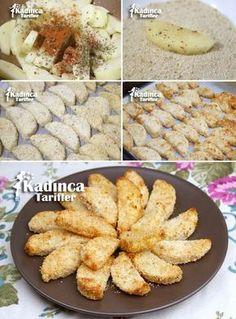 Fırında Çıtır Patates Tarifi Doğranan patatesler derin bir kap içerisine alınır ve üzerine sıvı yağ, tuz ve baharat ilave edilip güzelce harmanlanır. Geniş bir kap içerisine galeta unu koyulur. Patates dilimleri tek tek galeta ununa bulanır ve yağlı kağıt serili fırın tepsisine dizilir. Önceden ısıtılmış 190° fırında patatesler yumuşayıncaya kadar pişirilir. Patatesler yumuşayınca, fırın 230° ye ayarlanır. Patateslerin kızarması ve çıtır olması için 10-15 dakika daha pişirilir. Vegetable Recipes, Vegetarian Recipes, Chicken Recipes, Cute Food, Good Food, Yummy Food, Time To Eat, Iftar, Turkish Recipes