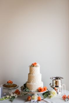 Beautiful Wedding Cake Table with Pie and Peach Roses