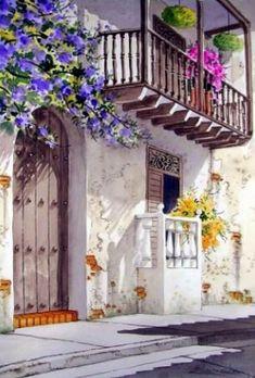 paisajes+coloniales+pintados+con+acuarela++++.jpg (541×800)