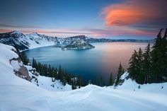 A snowy shot of Crater Lake National Park in southern Oregon
