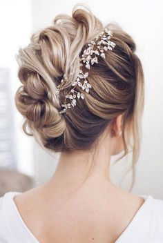 twisted updo wedding hairstyle for long hair