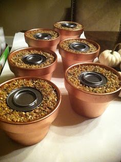 S'Mores Burners: flower pots, colored pea gravel, styrofoam in the bottom Camping Parties, Grad Parties, Holiday Parties, Birthday Parties, Indoor Smores, Marshmallows, S'mores Bar, Anniversary Parties, Sweet 16