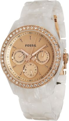 Fossil Women's ES2887 Stella Rose Gold Dial Watch