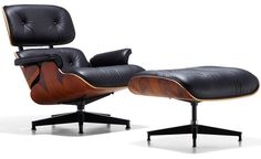 The Eames lounge chair and ottoman is the culmination of Charles and Ray Eames' efforts to create comfortable and handsome lounge seating by using production techniques that combine technology and handcraftsmanship. Its heritage goes back to the molded pl
