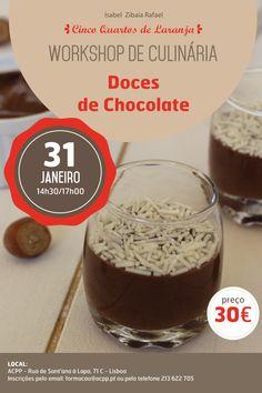 Cartaz do workshop de Doces de Chocolate em 31 de Janeiro de 2015 em Lisboa.