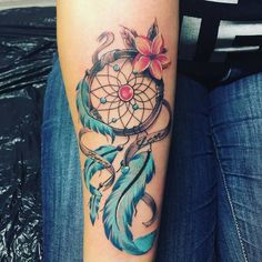 Colorful Dreamcatcher Tattoo by Melli KuestenStich