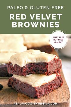 These Paleo Red Velvet Brownies Are Rich And Have A Sweet Dairy Free Cheesecake Topping. They Are So Delicious And Gluten Free, Dairy Free, Naturally Sweetened With A Nut Free Option. Via Realfoodwithjessica Paleo Dessert, Healthy Dessert Recipes, Gluten Free Desserts, Paleo Recipes, Gourmet Recipes, Real Food Recipes, Paleo Sweets, Free Recipes, Paleo Food