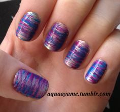 Fan Brush Nail Art | Nail it to Yourself blue, purple, silver