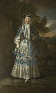 Henrietta Cavendish Holles Countess of Oxford by Godfrey Kneller, 1714 - she is wearing a riding habit - such unusual color combination! 18th Century Clothing, 18th Century Fashion, 17th Century, Historical Costume, Historical Clothing, Historical Dress, Female Clothing, Historical Art, Riding Habit