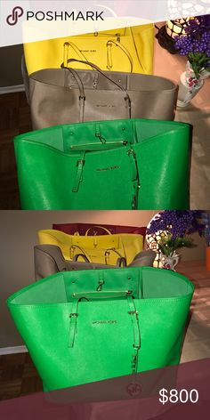 MK totes MK Saffiano leather tote red /green /yellow /bone Michael Kors Bags Totes