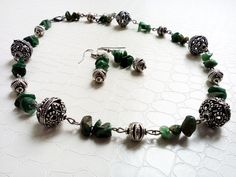 Jewelry set, African jade chips and silver beads  by MercysFancy on Etsy