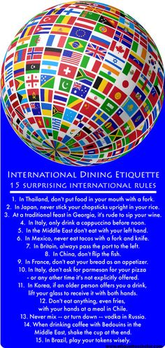 15 Surprising International Dining Etiquette Rules - Interesting and unexpected dining etiquette customs from around the world! Dinning Etiquette, Etiquette And Manners, Tea Etiquette, Material Research, Table Manners, International Recipes, High Tea, Bartender, Good To Know