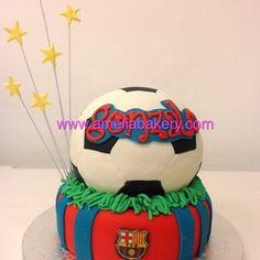 Tarta Barça - Tarta Barcelona - Tarta futbol - Tarta Balon futbol - Pasteles infantiles