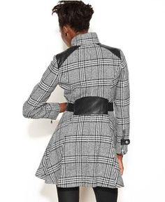 GUESS Coat, Double-Breasted Plaid A-Line - Coats - Women - Macy's