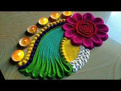 Easy and small Diwali FESTIVAL'S rangoli by easy rangoli classes Easy Rangoli Designs Videos, Indian Rangoli Designs, Rangoli Designs Latest, Simple Rangoli Designs Images, Rangoli Designs Flower, Rangoli Patterns, Rangoli Border Designs, Rangoli Ideas, Colorful Rangoli Designs
