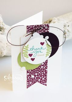 Endless Thanks stamp set. Colors are rich Razzleberry, pool party and pear pizzazz Card Making Inspiration, Making Ideas, Cool Cards, Diy Cards, Sympathy Cards, Greeting Cards, Thank U Cards, Scrapbooking, Birthday Cards For Women