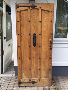 used exterior doors. SOLID OAK FRONT DOOR WOOD OLD PERIOD ANTIQUE RUSTIC EXTERNAL1900s JOINER  USED Oak front door for similar studs and knocker click below