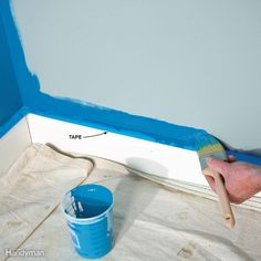 You probably know that taping off all your trim with masking tape is time consuming and doesn't guarantee good results—paint can still bleed under the tape. In short, taping off everything is a waste of time. Instead, only tape horizontal surfaces, like baseboards and chair rail, where paint splatter can land and be noticeable. Vertical surfaces, like door and window trim, aren't as vulnerable to splatter, so don't bother taping them. Just be sure to cut in carefully with your paintbrush so…