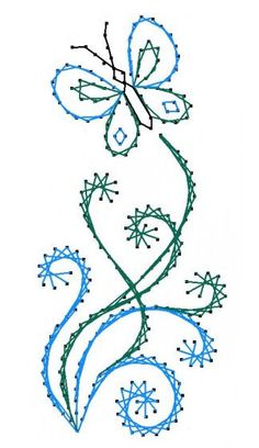 Butterfly Flourish Paper Embroidery Pattern for Greeting Cards