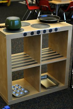 great way to make use of an expedit shelf: this way it can be turned into anything and its not limited to being a kitchen the whole time. Love it!