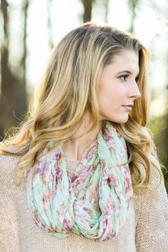 Spring perfection! Must have, light floral infinity scarf!