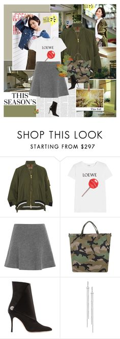 """This Fall"" by rainie-minnie ❤ liked on Polyvore featuring MML, Moncler, Loewe, Valentino and Manolo Blahnik"