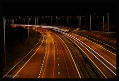 Motorway lights long exposure
