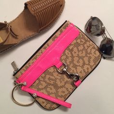 Adorable Rebecca Minkoff Wristlet In amazing condition this tan and pink Wristlet is perfect for going out! Has a place to carry it by your wrist or can carry it as a clutch. Zips shut. Very minor wear on pink strip. Colorful roomy inside. Rebecca Minkoff Bags Clutches & Wristlets
