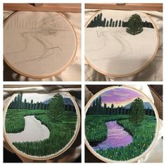 Russian artist Vera Shimunia creates colorful embroidery designs that look like pieces of landscape art. Using various embroidery stitches, each embroidery Crewel embroidery a practical guide crewelembroidery salvabrani Billowing Cl Hand Embroidery Stitches, Crewel Embroidery, Embroidery Hoop Art, Hand Embroidery Designs, Ribbon Embroidery, Cross Stitch Embroidery, Embroidery Ideas, Embroidery Tattoo, Embroidery Supplies