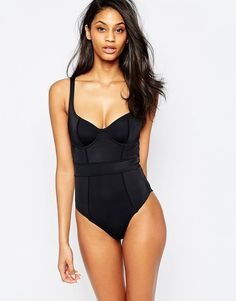 Image 1 of ASOS FULLER BUST Exclusive Underwired Paneled Swimsuit DD-G