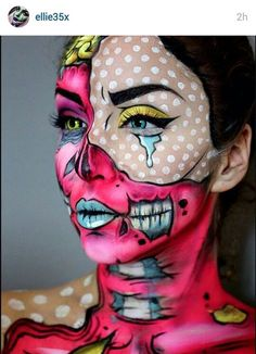 DIY Halloween Costumes for Women – Pop Art Makeup pop art zombie Looks Halloween, Halloween Makeup, Halloween Costumes, Halloween Zombie, Halloween Parties, Pop Art Makeup, Crazy Makeup, Makeup Ideas, Nail Ideas