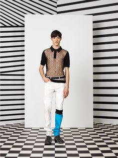 Jean Paul Gaultier Spring/Summer 2015. Love the one blue leg and stripe