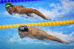 """""""Winners Focus On Winning While Losers Focus On Winners"""" (as Chad Le Clos of South Africa Did Watching Michael Phelps Up Close and Personal Last Night In The 200m Butterfly Finals)!! He Still Has It!!! Congrats @m_phelps00 (Nos 20& 21 Last Night). Could He Be the Most Dominant EVER in His Sport (including #MJ & @tigerwoods)??? #Beast #MichaelPhelps #GOAT #Rio2016"""