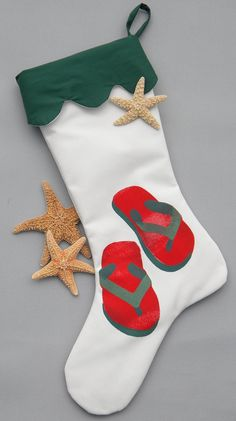 Flip Flops Coastal Christmas Stocking