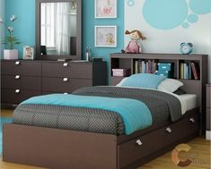 Modern Kids Bedroom Furniture With Modern Blue Bedroom Design For Kids With Single Bed On The Wooden Divan Also Square Mirror Above The Brown Storage Modern Kids Bedroom, Kids Bedroom Sets, Kids Bedroom Furniture, Small Room Bedroom, Girls Bedroom, Bedroom Ideas, Small Rooms, Ikea Bedroom, Blue Bedrooms