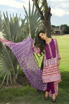Show details for Fuchsia and Orange Lawn Kameez with Trousers