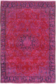 "6'7"" x 6'10"" Fuschia Pink Turkish Overdyed Rug"