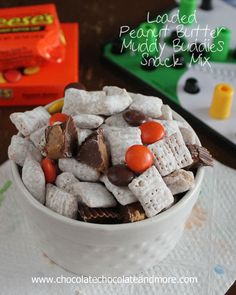 Loaded Peanut Butter Muddy Buddies Snack Mix-with Reeses Pieces and Reeses Peanut Butter Cups