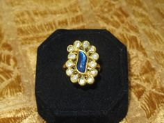 Vintage Art Deco  22k and 18k Gold Rind with Old Mine Cut Diamonds and Iolite