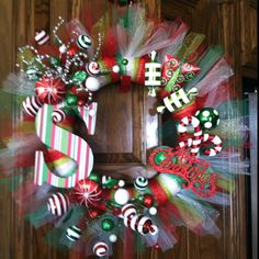 Another Wreath! maybe without the letter, just tulle & ornaments