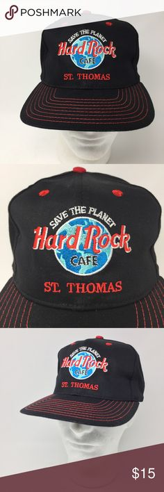 Hard Rock Cafe St Thomas Save The Planet Hat Hard Rock Cafe St Thomas Save The Planet Black Hat Love All Serve All OS   We LOVE finding unique and special hats ... of all kinds. Some are new and some have been pre-owned.   We sell NFL, NBA, NHL, and MLB hats. NCAA hats and NASCAR hats. And, we find other great hats like this one ...  Comes from a smoke free and pet free environment. Hat will be shipped in a box to prevent it from from getting crushed. Hard Rock Cafe Accessories Hats