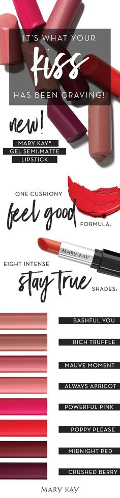 Mary Kay®️️ Gel Semi-Matte Lipstick is the first full-coverage lipstick by Mary Kay to utilize gel microsphere technology for rich, stay-true color that lasts for hours – without leaving lips looking or feeling dry. It's formulated to provide a soft-focus effect, with optical enhancers included to scatter light and blur the appearance of minor imperfections.  Visit my website at www.marykay.com/slukas