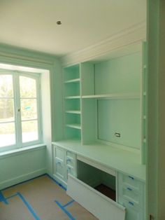 Christine Dovey Style is a Toronto based Interior Design and Styling company. Call or visit us in Oakville, Ontario. Benjamin Moore, Mint Paint, Wall Colors, Paint Colors, Paint Party, Home Office Furniture, Built Ins, Girl Room, Bookcase