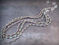 Boheemse sieraden Beaded multi strand gehaakte door GlowCreek