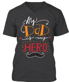 Daddy Hero!  Dark Grey Heather T-Shirt Front