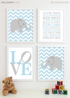 Baby Boy Nursery Art Chevron Elephant Nursery Prints, Kids Wall Art Baby Boys Room, Baby Nursery Decor Playroom Rules Subway Art 11x14 via Etsy